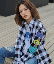[CODEI'M] SCW LOGO OVER FIT GINGHAM CHECK SHIRT