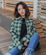 [CODEI'M] SCW LOGO OVER FIT TARTAN CHECK SHIRT