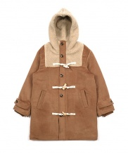 [youthbath] Over-size fur hoodie cashmere duffle coat be