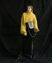 [ulkin] UL:KIN COLLECTION LABEL_CABLE KNIT TURTLENECK CAPE PULLOVER