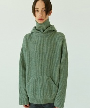 [WOOZO] lamb's wool hood turtle knit
