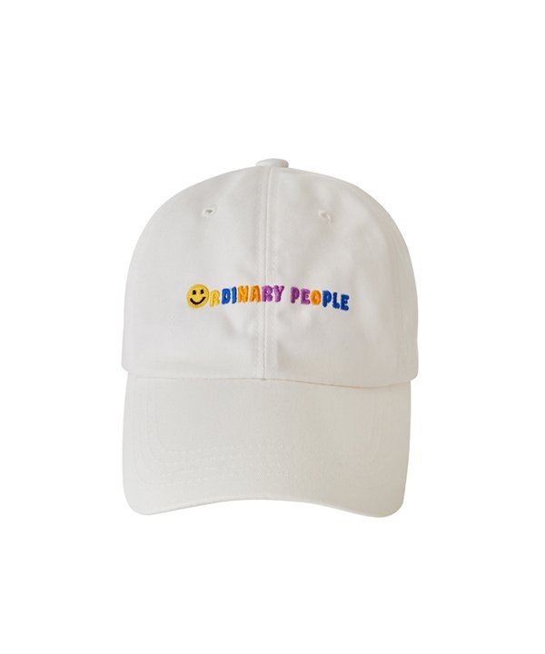 [ORDINARY PEOPLE] smile logo buckle point white ball cap