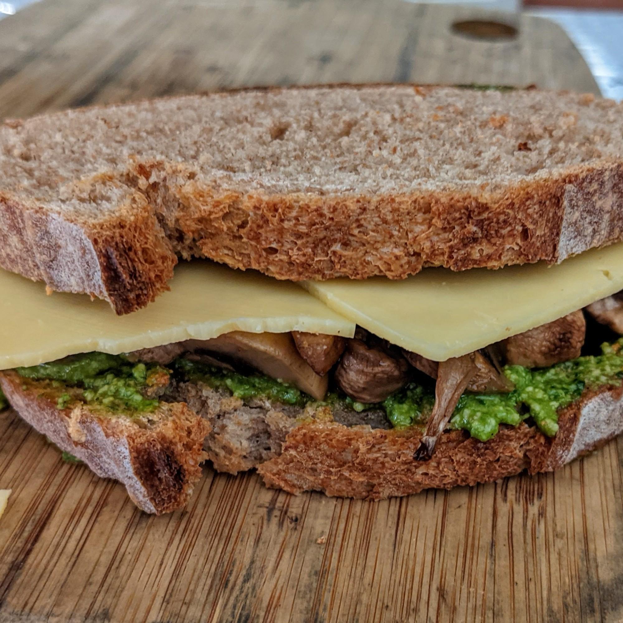 Mushroom, Cheese and cashew Pesto Melt