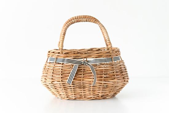 【今季終了】Encachette/アンキャシェット/【別注品】リボン付きかごバッグ(ボーダー)の商品写真