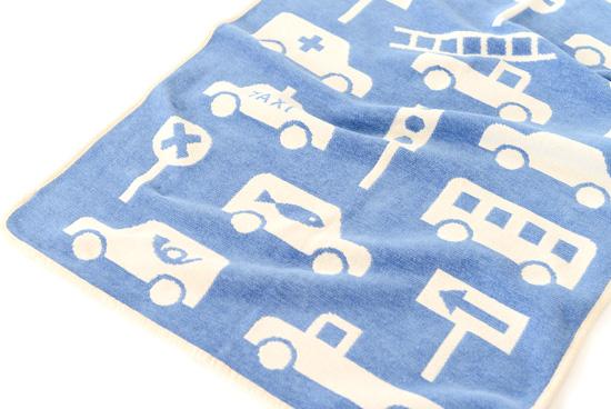 KLIPPAN/クリッパン/コットンミニブランケット/車(ブルー)の商品写真
