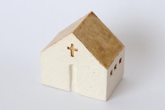 よしおかれい/家のオブジェ/イエローの屋根の教会(L)の商品写真