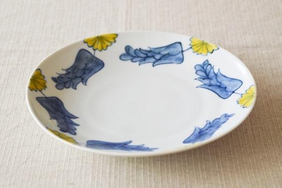 【取扱い終了】九谷焼/葛西国太郎/色絵黄花/8寸皿(径:約24.3cm)の商品写真