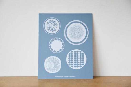 オリジナルポスター/シルクスクリーン/北欧のお皿(ブルー)の商品写真