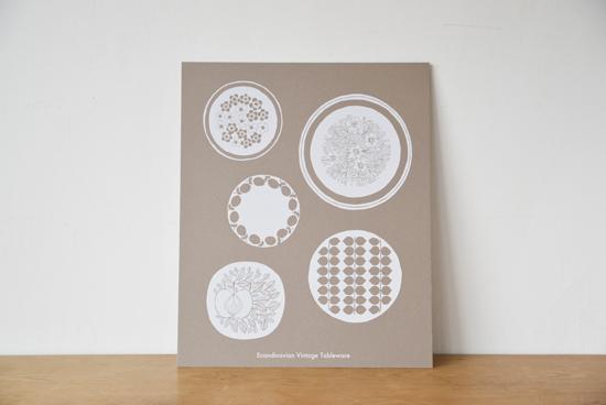 オリジナルポスター/シルクスクリーン/北欧のお皿(ベージュ)の商品写真