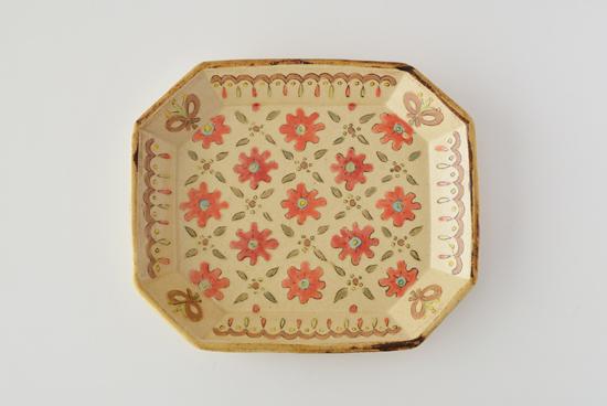 増山文/赤花/八角皿(長辺約19.5cm)の商品写真