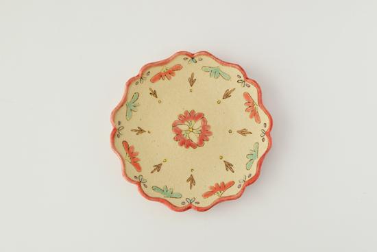 増山文/赤花/五寸皿(径:約15.5cm)の商品写真