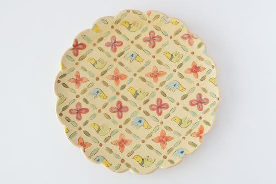増山文/鳥と花/七寸皿(径:約21.5cm)の商品写真