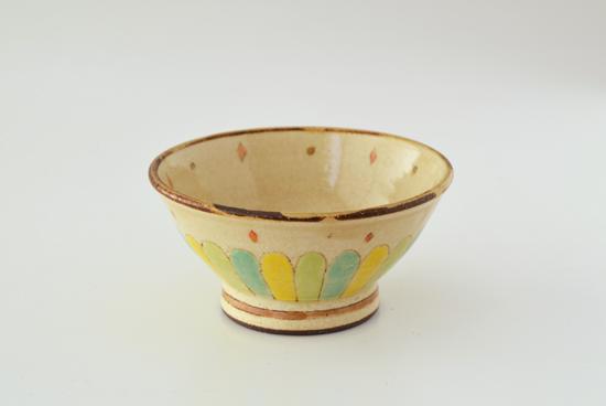 増山文/花片緑黄/飯碗(径:約12cm)の商品写真
