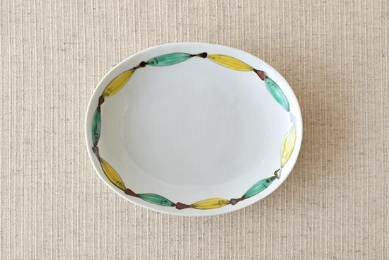 九谷焼/日下華子/色絵魚文/楕円皿の商品写真