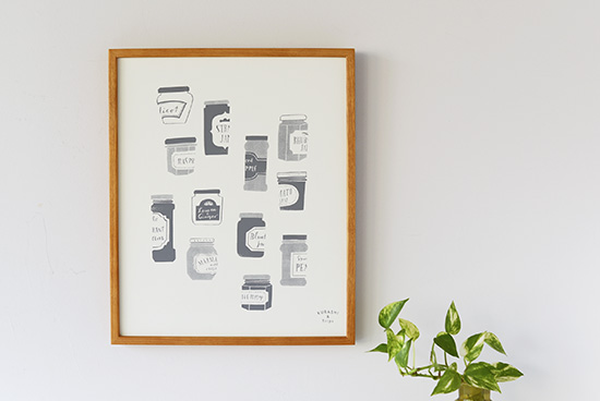 【在庫限り取扱終了】オリジナルポスター/シルクスクリーン/ジャムのビン(グレー)の商品写真