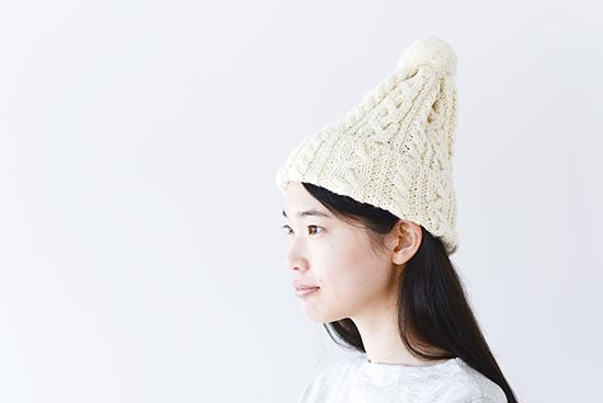 【今季終了】ハイランド2000/ポンポン付きニット帽(アイボリー)の商品写真