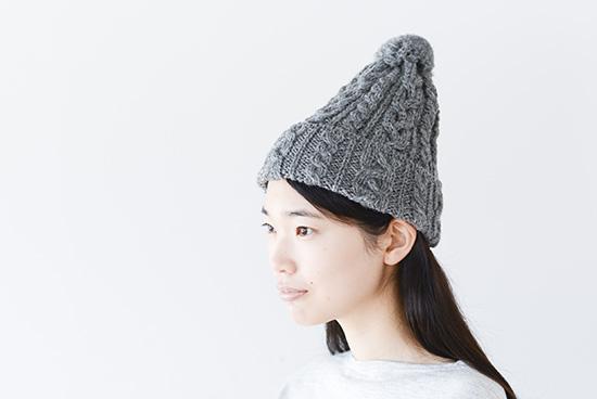 ハイランド2000/ポンポン付きニット帽(グレー)の商品写真