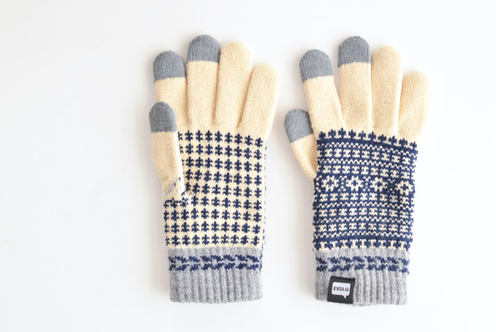【今季終了】EVOLG/FLEUR/ショート手袋(バニラ×ネイビー×グレー)の商品写真