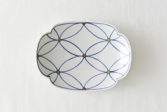龍豊窯/木瓜七宝柄皿の商品写真
