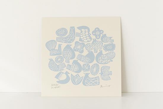 BIRDS' WORDS/バーズ&フラワーズ柄/ポスター/アイボリー×ブルー(シルクスクリーン)の商品写真