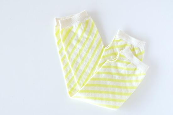 Danke/ダンケ/UVカットアームカバー(レモンイエロー×ホワイトのストライプ)の商品写真
