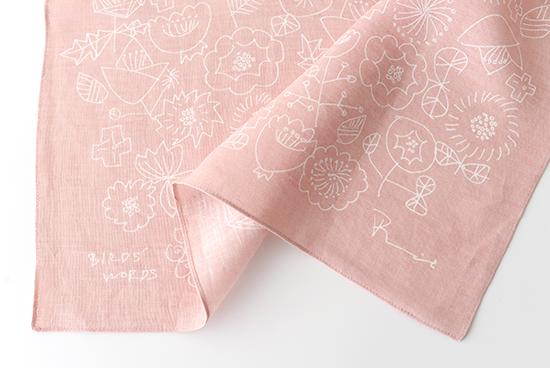 BIRDS' WORDS/バーズワーズ/リネンハンカチ/FLOWER (ピンク)の商品写真