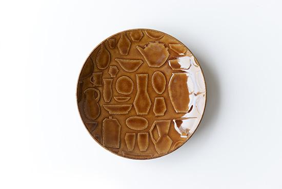 益子焼レリーフ/マルチプレート/ブラウン(19.5cm)の商品写真
