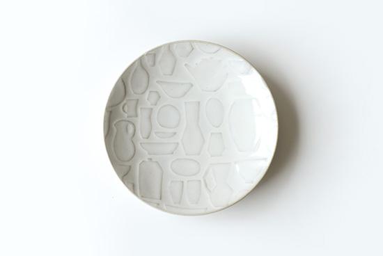 益子焼レリーフ/マルチプレート/ホワイト(19.5cm)の商品写真