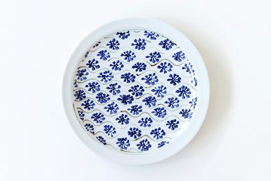 瀬戸焼|藍色花模様プレート