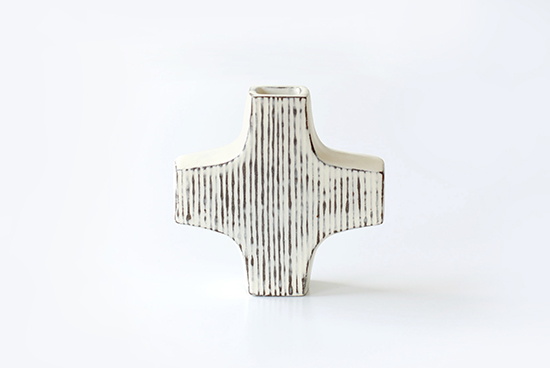 平厚志/クロス型の花器/線模様の商品写真