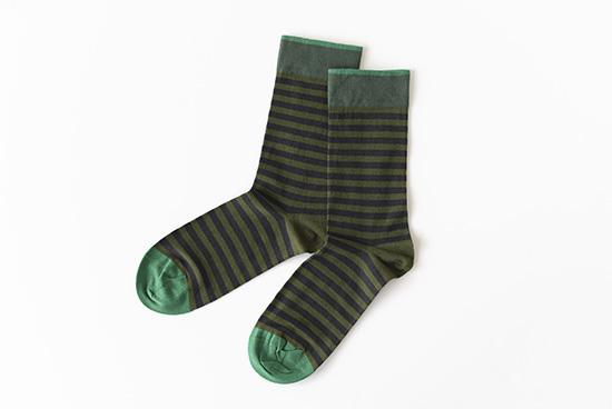 【今季終了】Bonne Maison/ボンヌメゾン/ 靴下(ボーダー・グリーン)の商品写真