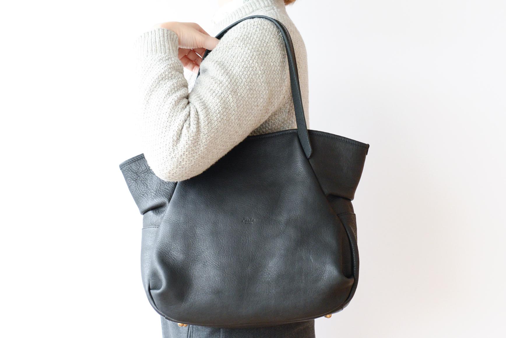 【1/24(火)20時再入荷】Ense/アンサ/レザートートバッグ(ブラック)の商品写真