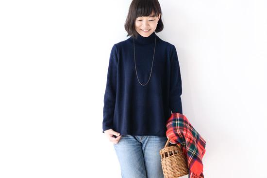 【次回11月頃入荷予定】grin/グリン/タートルネックニット(ネイビー)の商品写真