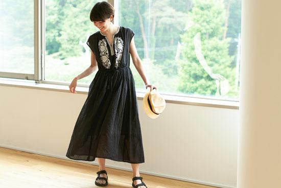 【今季終了】ne Quittez pas/ヌキテパ/刺繍ワンピース(ブラック)の商品写真