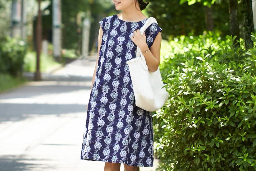 【数量限定】grin/グリン/フラワードット刺繍ワンピース(ネイビー)の商品写真