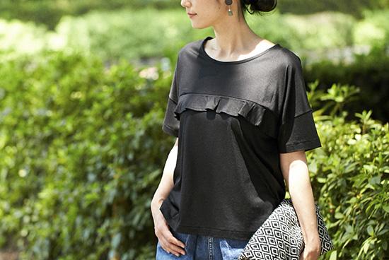 【今季終了】Encachett/アンキャシェット/フリルTシャツ(ブラック)の商品写真