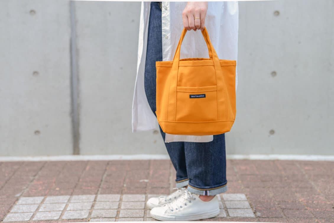 【今季終了】marimekko/マリメッコ/RAIDE MINI PERUSKASSI/ミニトートバッグ(マスタード)の商品写真