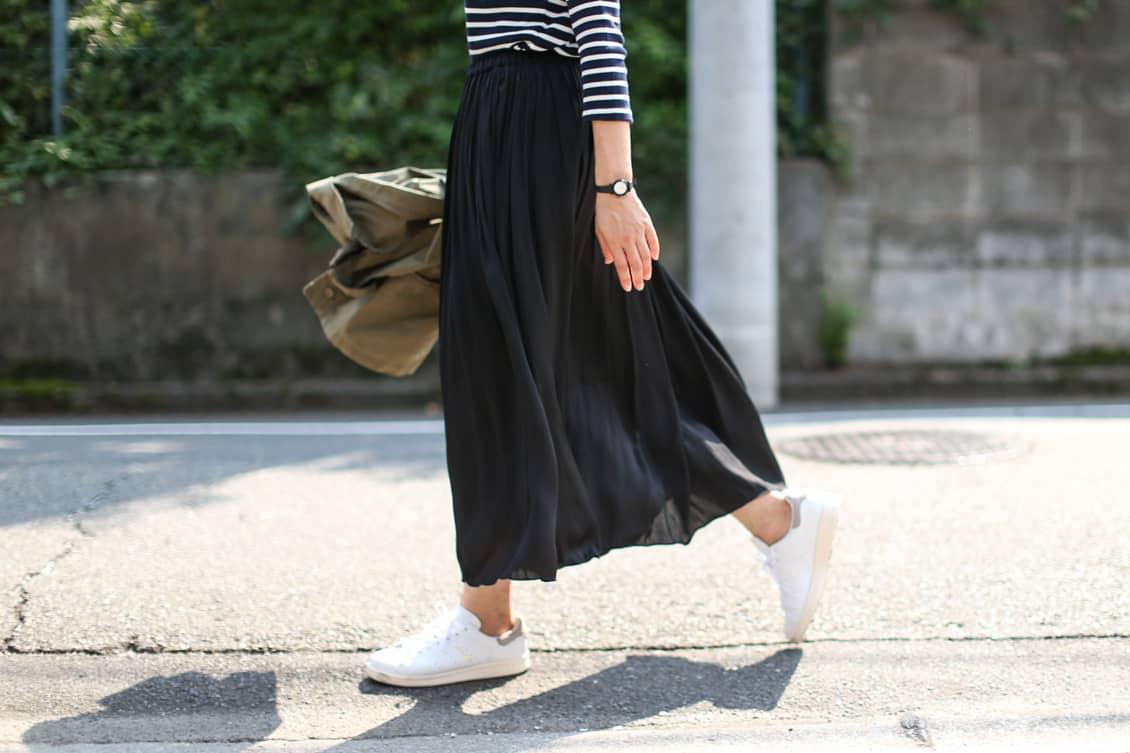 【11月中旬再入荷予定】Face campana/フェイスカンパーナ/ ロングスカート(ブラック)の商品写真