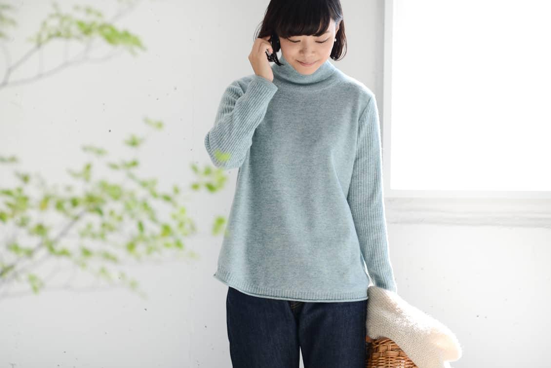 【次回11月再入荷予定】grin/グリン/タートルネックニット(ミントグリーン)の商品写真