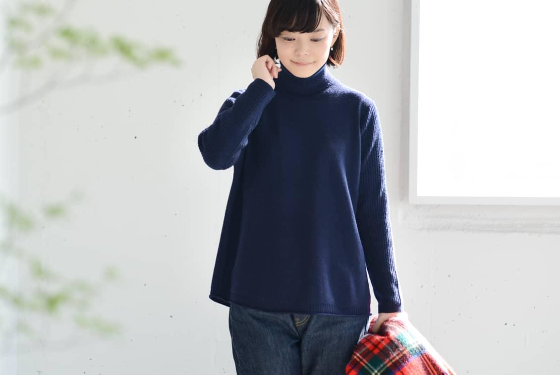 【今季終了】grin/グリン/タートルネックニット(ネイビー)の商品写真