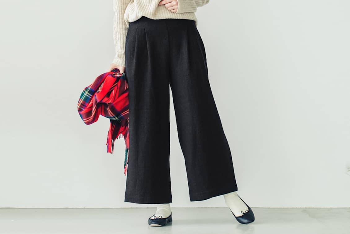 【今季終了】FLW/エフエルダブリュー/ウールリネンワイドパンツ(ブラック)の商品写真