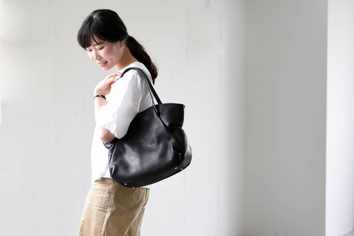 【次回入荷未定】Ense/アンサ/レザートートバッグ(ブラック)の商品写真