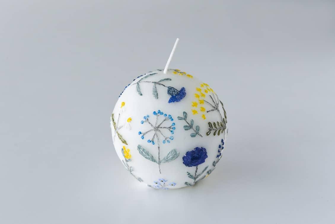 【次回5月入荷予定】nuri candle/庭に咲く花/アロマキャンドル(球体)の商品写真