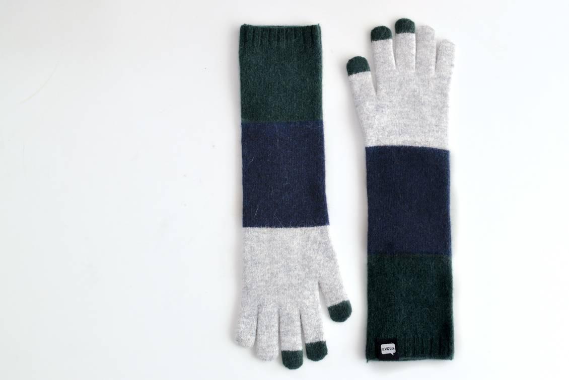 【今季終了】EVOLG/TRICO LONG/ロング手袋(グレー×ネイビー×リーフ)の商品写真