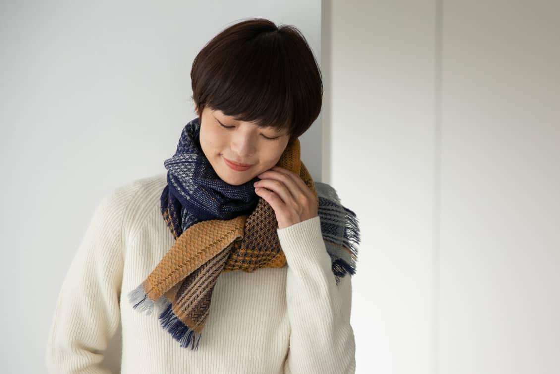 【今季終了】kobo oriza/ウール変わり織りマフラー(マスタード)の商品写真