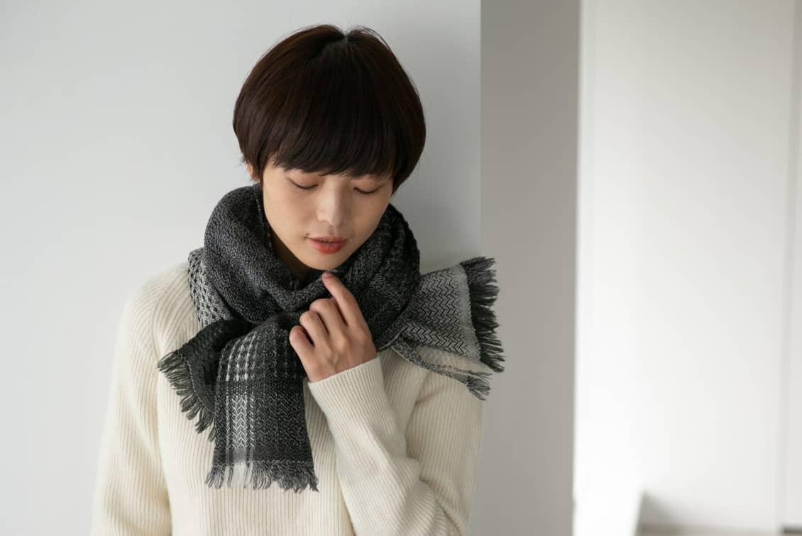 【今季終了】kobo oriza/ウール変わり織りマフラー(エクリュホワイト)の商品写真