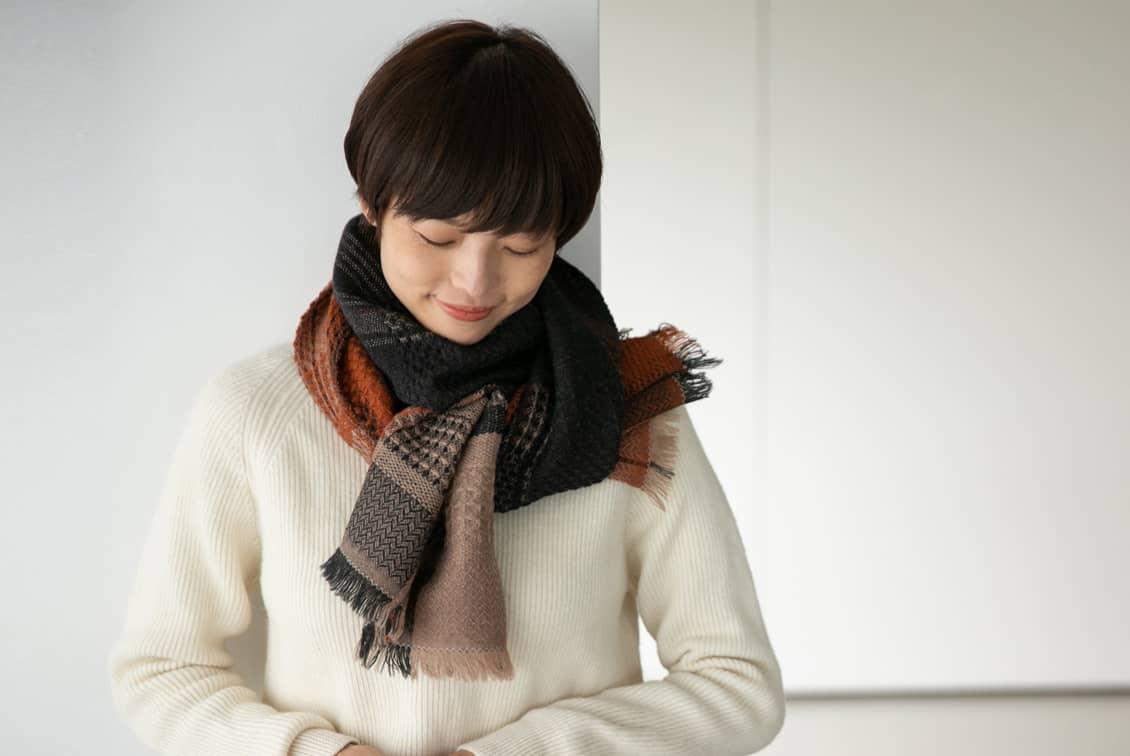 【今季終了】kobo oriza/ウール変わり織りマフラー(マロンブラウン)の商品写真