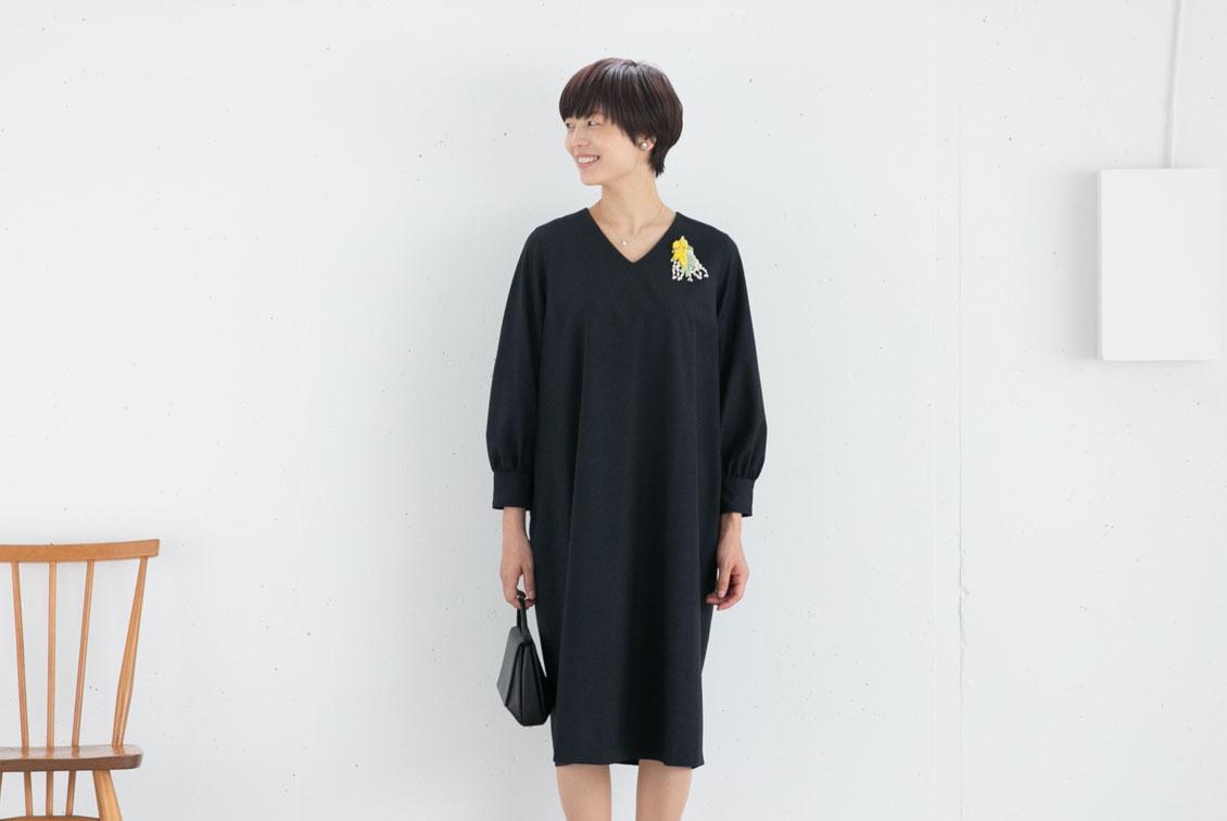 【次回11月上旬入荷予定】小さいサイズ/「大切な日もわたしらしく」フォーマルワンピース(コクーン)/atelier naruse×KURASHI&Trips PUBLISHINGの商品写真