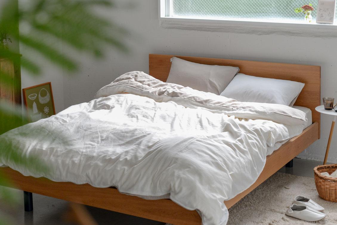 掛け布団カバー / セミダブル(ホワイト×ベージュ)/ さっとつけられる布団カバーシリーズの商品写真