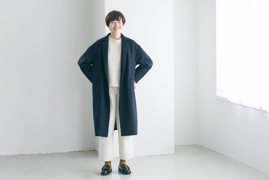 【今季終了】「冬のお出かけも私らしく」3WAYアレンジ襟のかろやかチェスターコート(ネイビー)/KURASHI&Trips PUBLISHINGの商品写真